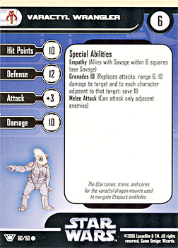 Star Wars Miniature Stat Card - Varactyl Wrangler, #60 - Common