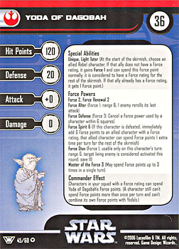Star Wars Miniature Stat Card - Yoda of Dagobah, #45 - Very Rare
