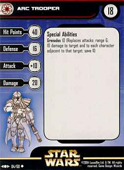 Star Wars Miniature Stat Card - ARC Trooper, #4 - Uncommon