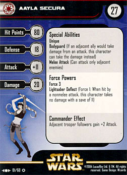 Star Wars Miniature Stat Card - Aayla Secura, #1 - Very Rare