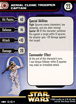 Star Wars Miniature Stat Card - Aerial Clone Trooper Captain, #2 - Rare