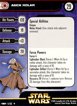 Star Wars Miniature Stat Card - Agen Kolar, #11 - Rare