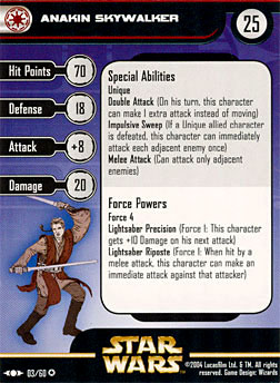 Star Wars Miniature Stat Card - Anakin Skywalker, #3 - Very Rare