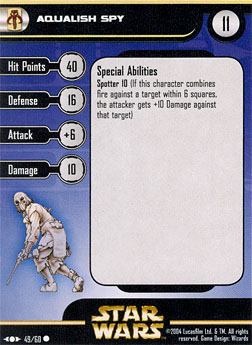 Star Wars Miniature Stat Card - Aqualish Spy, #49 - Common