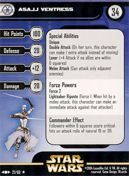 Star Wars Miniature Stat Card - Asajj Ventress, #27 - Rare