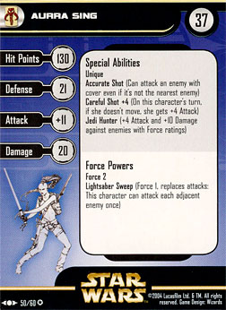 Star Wars Miniature Stat Card - Aurra Sing, #50 - Very Rare