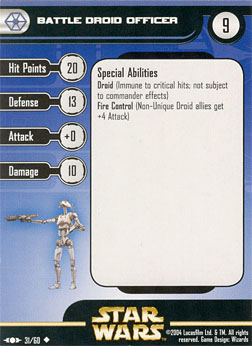 Star Wars Miniature Stat Card - Battle Droid Officer, #31 - Uncommon