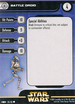 Star Wars Miniature Stat Card - Battle Droid #28, #28 - Common