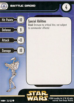 Star Wars Miniature Stat Card - Battle Droid #29, #29 - Common