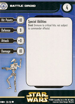 Star Wars Miniature Stat Card - Battle Droid #30, #30 - Common