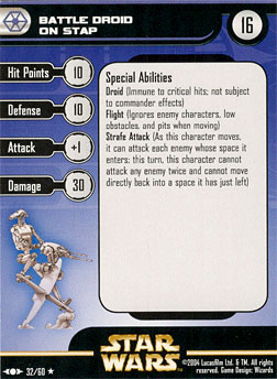 Star Wars Miniature Stat Card - Battle Droid on STAP, #32 - Rare