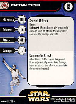 Star Wars Miniature Stat Card - Captain Typho, #5 - Rare