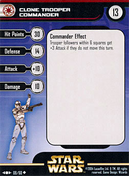 Star Wars Miniature Stat Card - Clone Trooper Commander - CLS, #8 - Uncommon