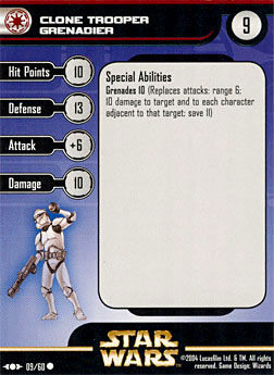 Star Wars Miniature Stat Card - Clone Trooper Grenadier, #9 - Common