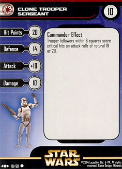Star Wars Miniature Stat Card - Clone Trooper Sergeant, #10 - Common