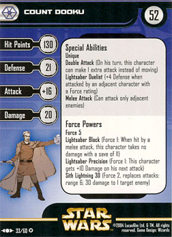 Star Wars Miniature Stat Card - Count Dooku, #33 - Very Rare