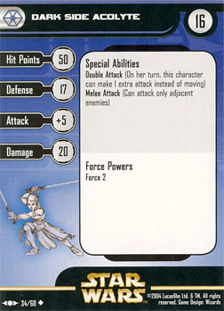 Star Wars Miniature Stat Card - Dark Side Acolyte, #34 - Uncommon