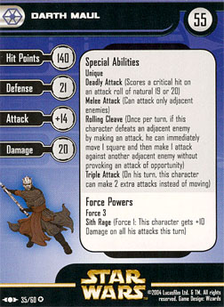 Star Wars Miniature Stat Card - Darth Maul, #35 - Very Rare