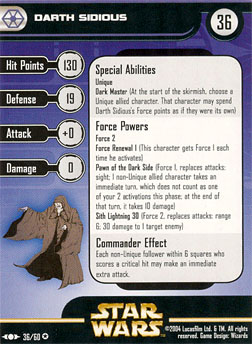 Star Wars Miniature Stat Card - Darth Sidious, #36 - Very Rare