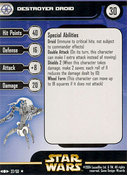Star Wars Miniature Stat Card - Destroyer Droid - CLS, #37 - Rare