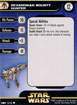 Star Wars Miniature Stat Card - Devaronian Bounty Hunter, #51 - Common