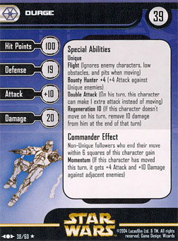 Star Wars Miniature Stat Card - Durge, #38 - Rare