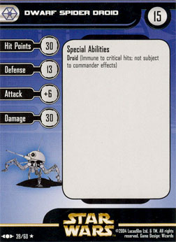 Star Wars Miniature Stat Card - Dwarf Spider Droid, #39 - Rare