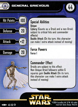 Star Wars Miniature Stat Card - General Grievous, #40 - Very Rare
