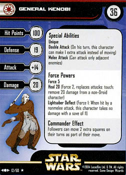 Star Wars Miniature Stat Card - General Kenobi, #12 - Rare