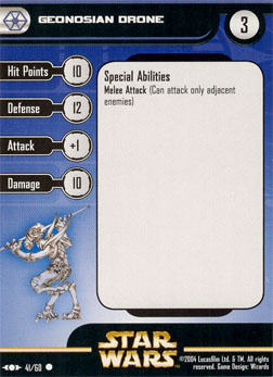 Star Wars Miniature Stat Card - Geonosian Drone, #41 - Common