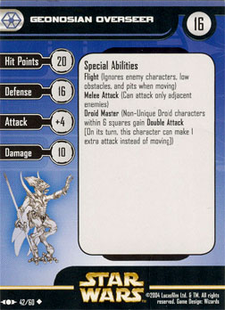 Star Wars Miniature Stat Card - Geonosian Overseer, #42 - Uncommon