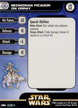 Star Wars Miniature Stat Card - Geonosian Picador on Orray, #43 - Rare