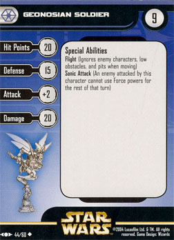 Star Wars Miniature Stat Card - Geonosian Soldier, #44 - Uncommon