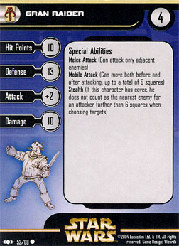 Star Wars Miniature Stat Card - Gran Raider, #52 - Common