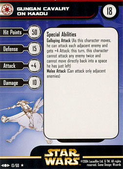 Star Wars Miniature Stat Card - Gungan Cavalry on Kaadu, #13 - Rare