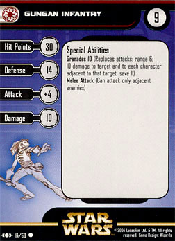 Star Wars Miniature Stat Card - Gungan Infantry, #14 - Common