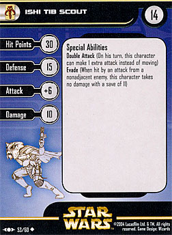 Star Wars Miniature Stat Card - Ishi Tib Scout, #53 - Uncommon