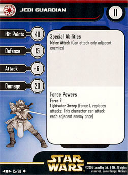 Star Wars Miniature Stat Card - Jedi Guardian - CLS, #15 - Uncommon
