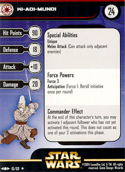 Star Wars Miniature Stat Card - Ki-Adi-Mundi, #16 - Rare