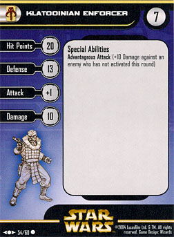 Star Wars Miniature Stat Card - Klatooinian Enforcer, #54 - Common