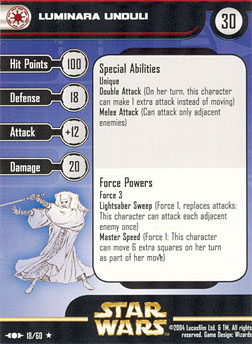 Star Wars Miniature Stat Card - Luminara Unduli, #18 - Rare