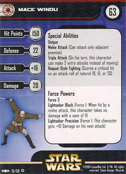 Star Wars Miniature Stat Card - Mace Windu, #19 - Very Rare