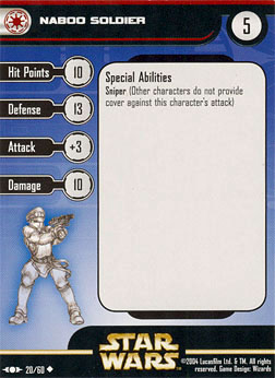 Star Wars Miniature Stat Card - Naboo Soldier, #20 - Uncommon