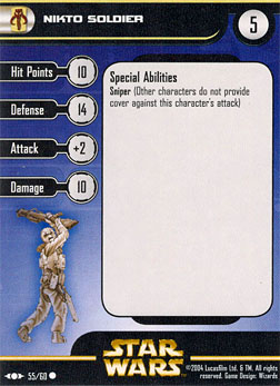 Star Wars Miniature Stat Card - Nikto Soldier, #55 - Common