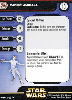 Star Wars Miniature Stat Card - Padme Amidala, #21 - Very Rare