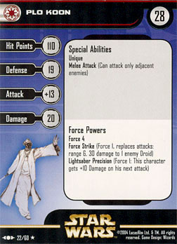 Star Wars Miniature Stat Card - Plo Koon, #22 - Rare