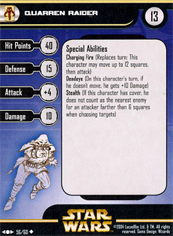 Star Wars Miniature Stat Card - Quarren Raider, #56 - Uncommon