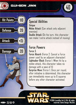 Star Wars Miniature Stat Card - Qui-Gon Jinn, #23 - Very Rare