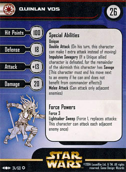 Star Wars Miniature Stat Card - Quinlan Vos, #24 - Rare
