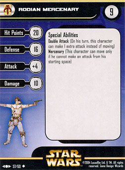 Star Wars Miniature Stat Card - Rodian Mercenary, #57 - Uncommon